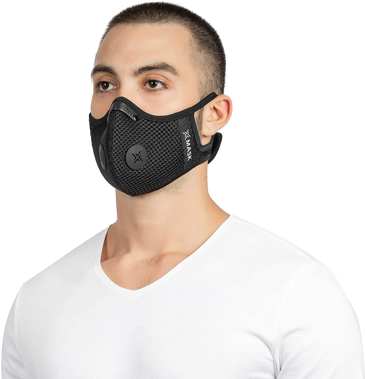 xMask Mesh Vented Athletic Face Mask - Reusable Washable Breathable Comfortable - Adjustable Strap and Nose Wire No Fog - 5 Layer Active Carbon Filter Vents PM2.5 Grade Protection - Men Women Kids