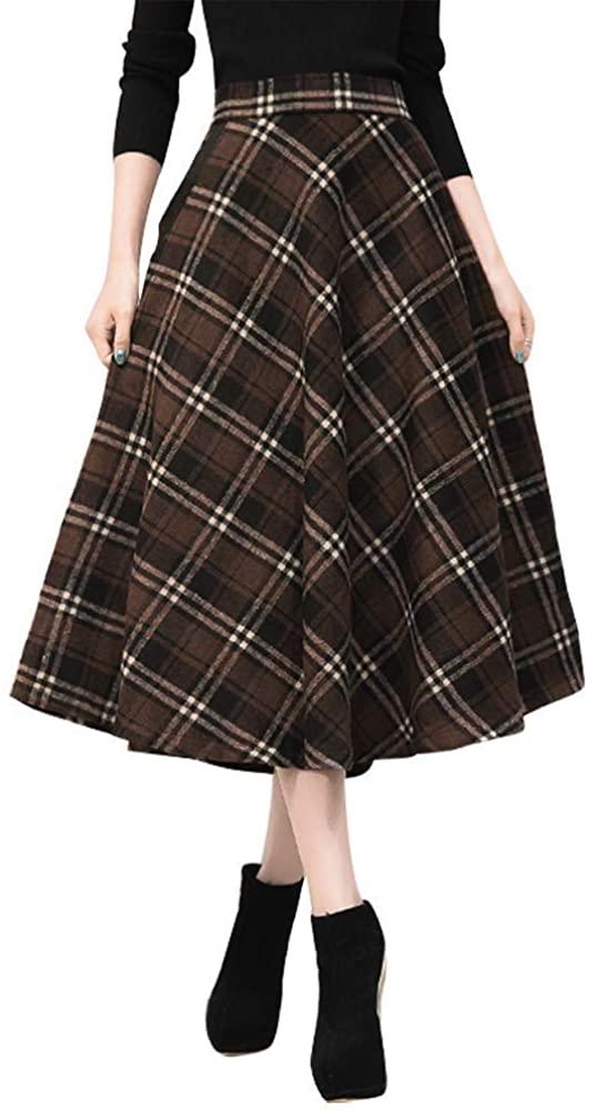 Ylingjun Long Wool Skirt for Womens High Elastic Waist A line Flared Pleated Wool Skirts