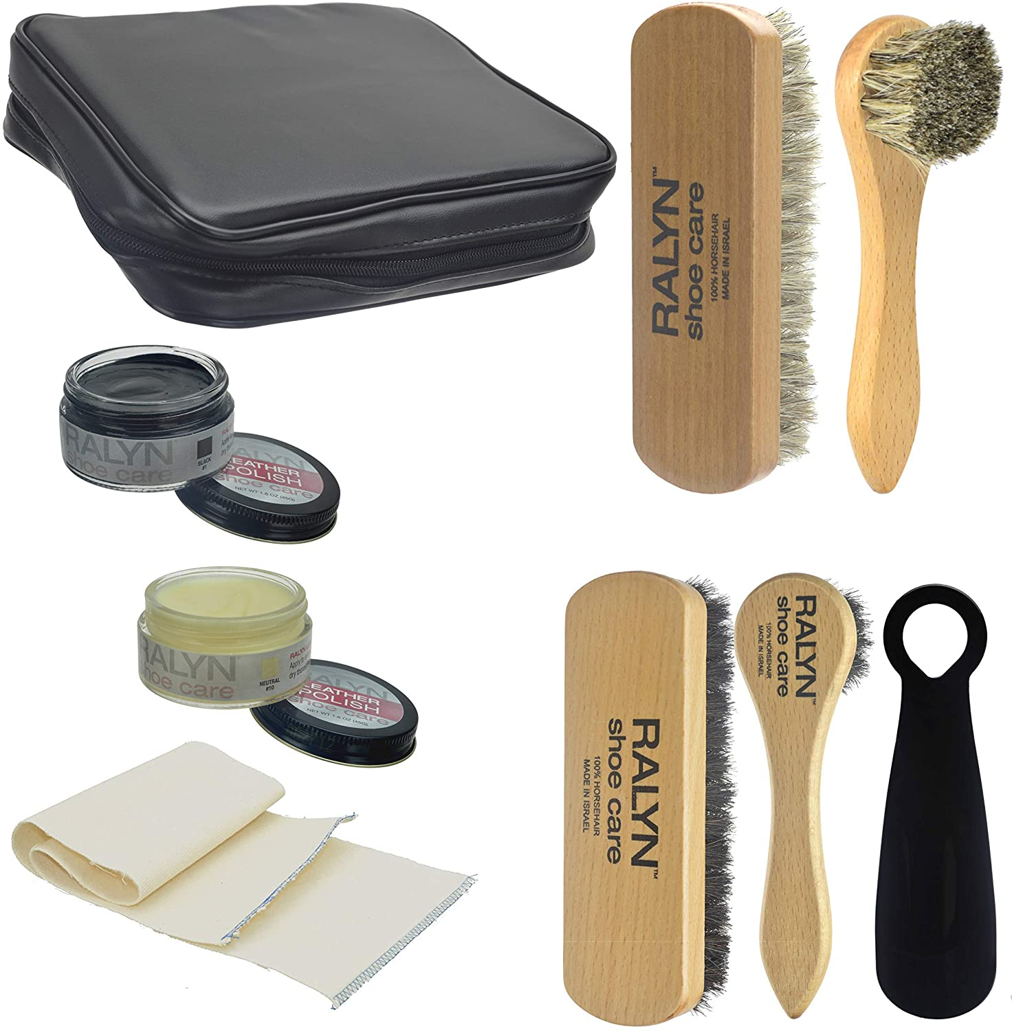 Ralyn Deluxe Shoe Shine Kit 8 Pcs. With Pouch Travel Size Shine kit With Polish.
