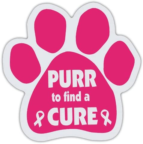Pink Cat Paw Shaped Magnets: PURR TO FIND A CURE (Breast Cancer Awareness)