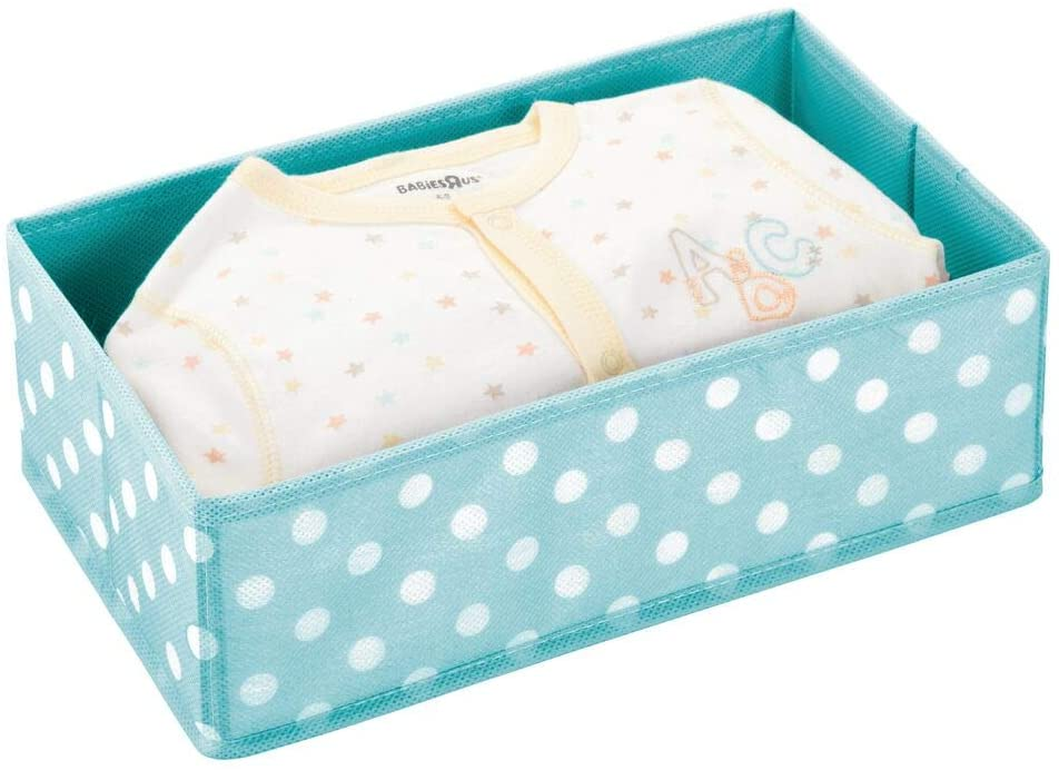 mDesign Soft Fabric Dresser Drawer and Closet Storage Organizer for Toddler/Kids Bedroom, Nursery, Playroom - Rectangular Bin with Polka Dot Print - Turquoise Blue/White