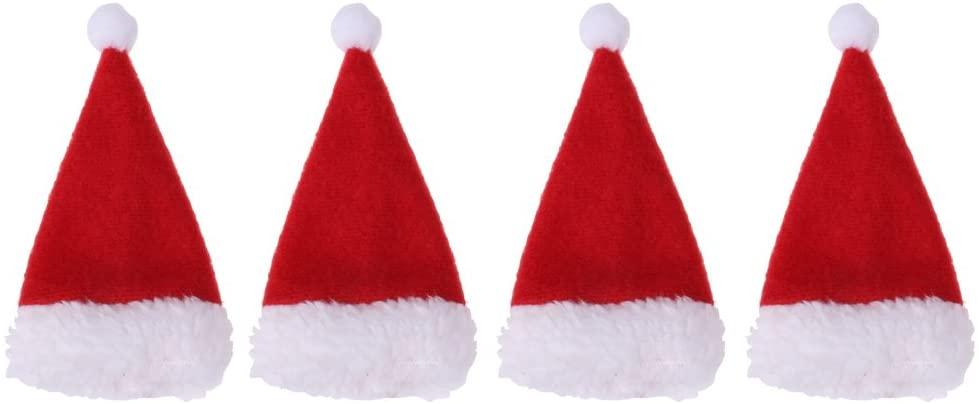 Harilla 4X Mini Santa Hats Christmas Wine Bottle Hats Party Table Decorations