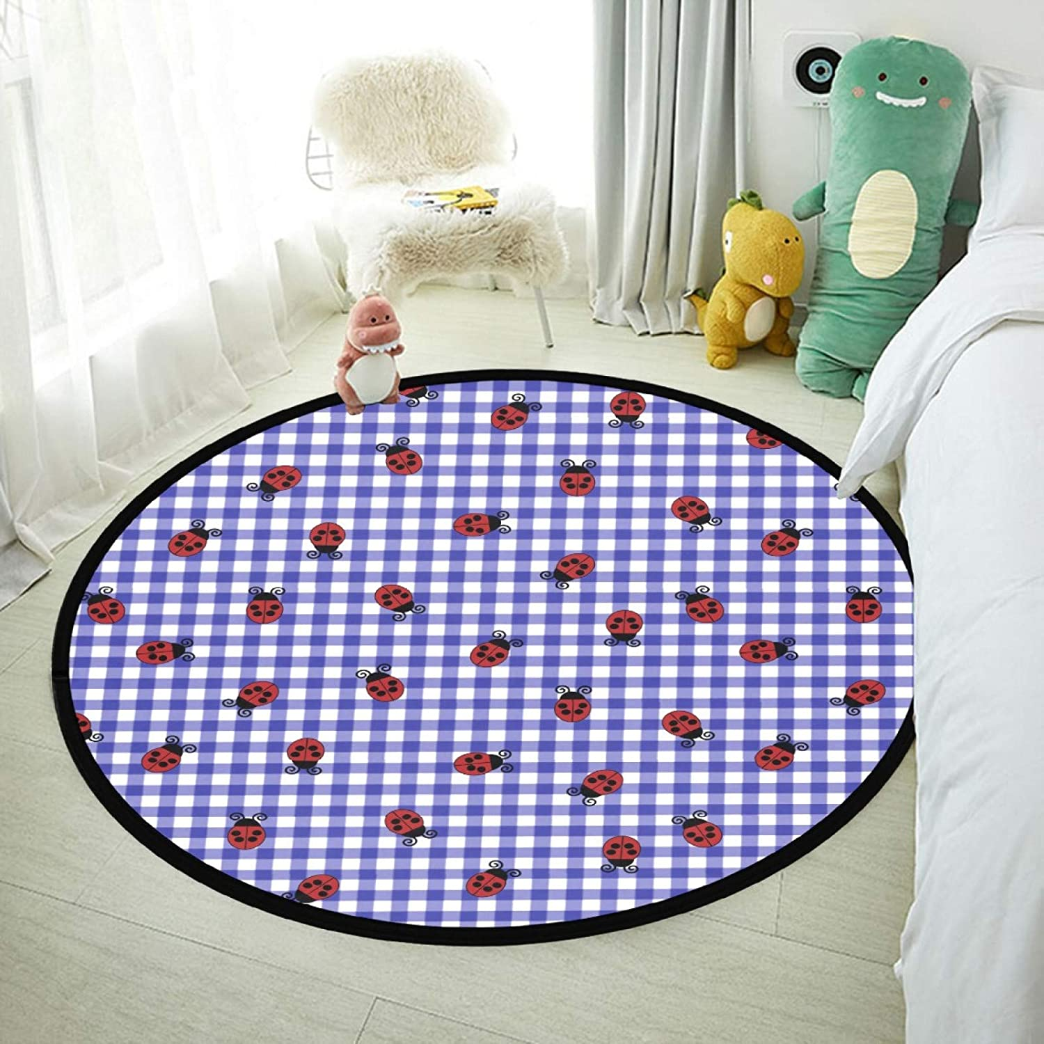 Round Area Rug for Baby Anti-Skid Luxury Carpets for Home Decor Nursery Bedroom and Living Room Cartoon Ladybug Insect Plaid 31.5