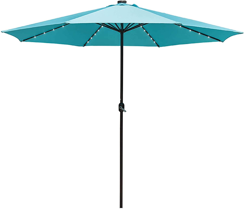 Sundale Outdoor 11FT 40 LED Lights Aluminum Patio Market Umbrella with Crank, Garden Pool Solar Powered Lighted Parasol, No Tilt (Blue)
