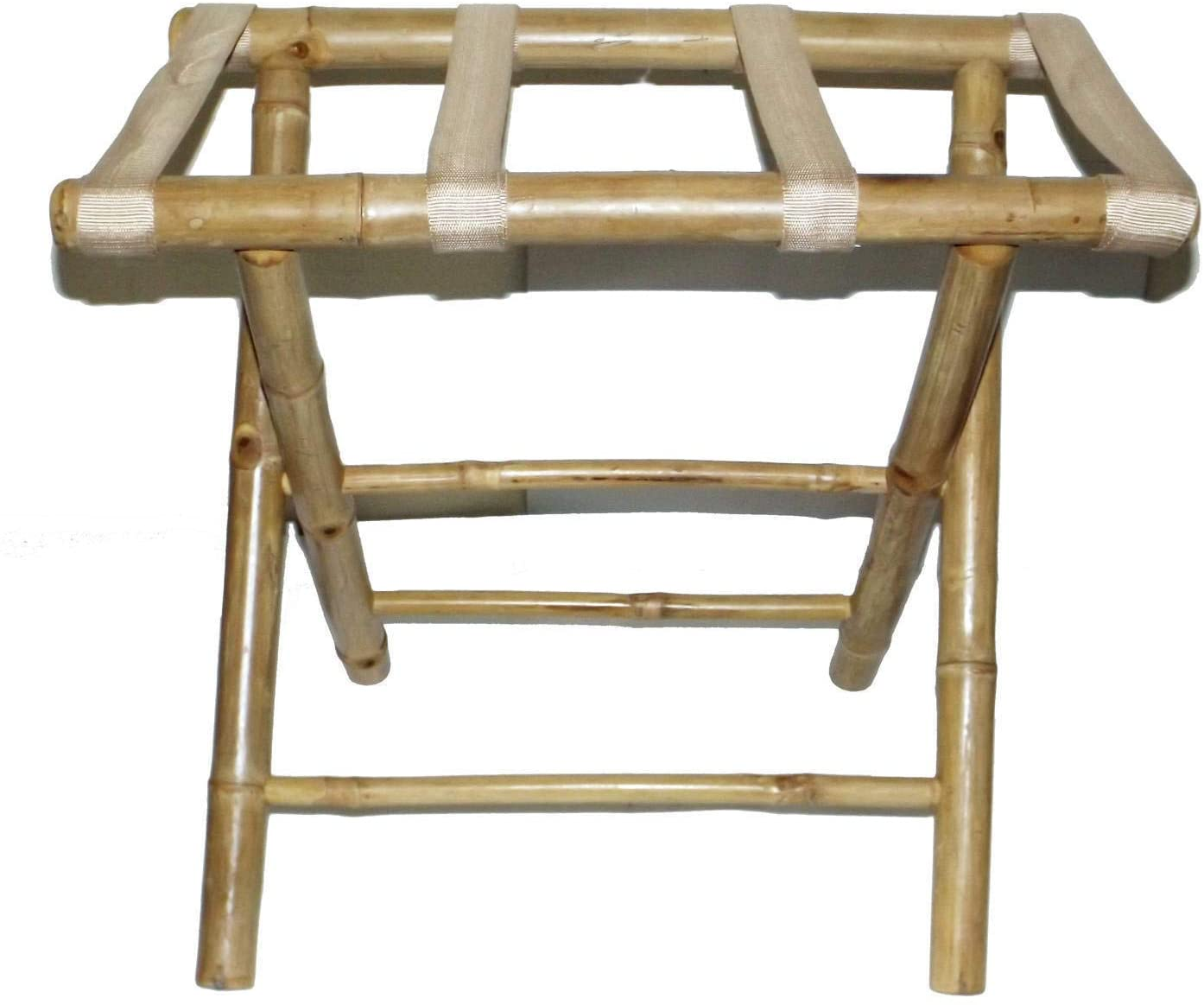 Handmade Bamboo Luggage Rack (Vietnam) Off/White Country 1 Piece Natural Finish