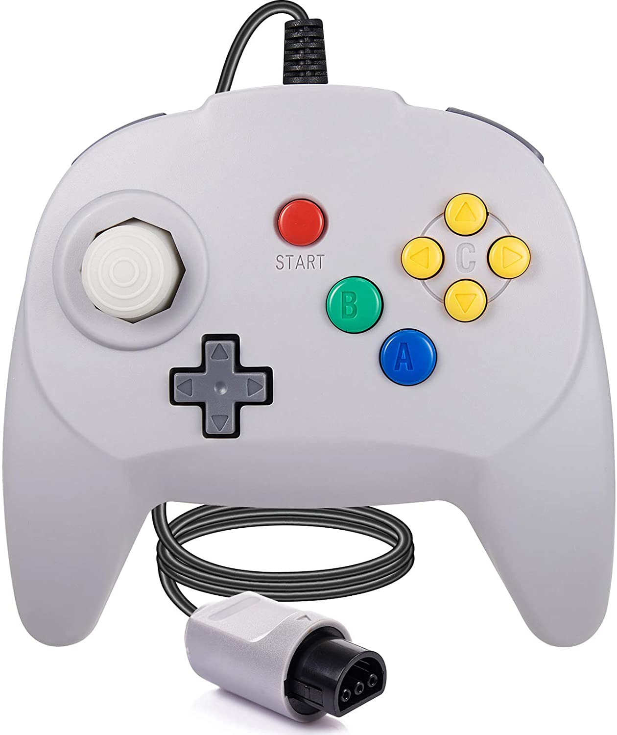 miadore Retro N64 Controller Wired N64 Classic 64-bit Mini Gamepad Remote with Upgraded Japan Joystick for Original Ultra N64 Console Video Game System (Gray)