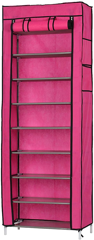 DOLMER Fashionable Room-Saving 9 Lattices Non-Woven Fabric Shoe Rack Rose Red Houseware Shoes Racks Storage Shelf