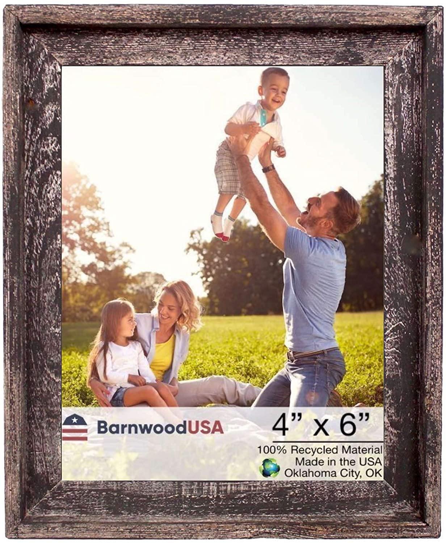 BarnwoodUSA   Farmhouse Style Rustic 4x6 Picture Frame   Signature Molding   100% Reclaimed Wood   Rustic   Smoky Black