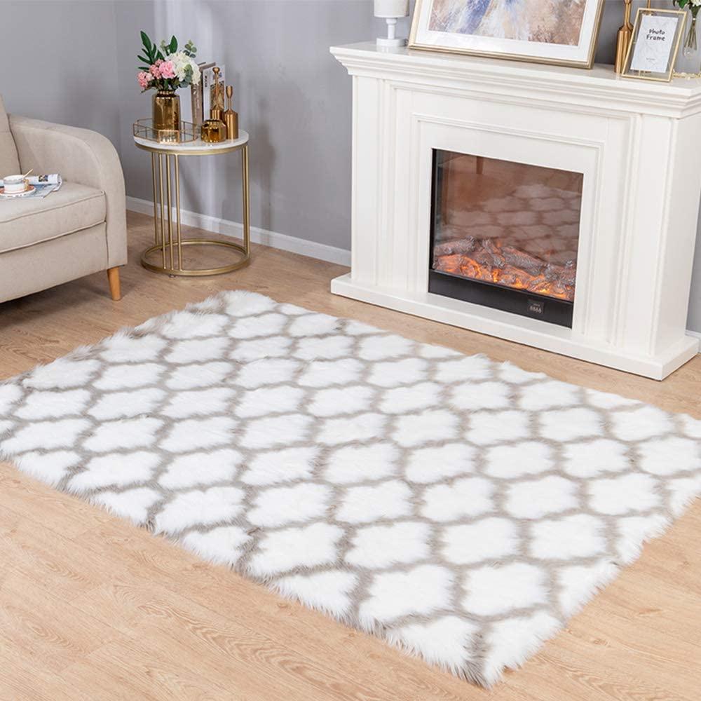 Carvapet Moroccan Shaggy Soft Faux Sheepskin Fur Area Rugs Floor Mat Luxury Beside Carpet for Bedroom Living Room 6ft x 9ft, Grey Strips on White