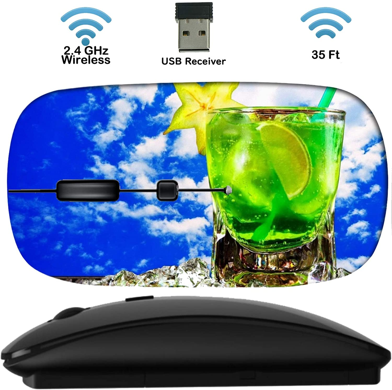 Wireless Mouse Computer Mice Black Base 2.4G with USB Receiver, Cordless Portable and Silent Click with 1000 DPI for Notebook PC Laptop Computer MacBook Image of Cocktail ice Cold Drink Glass Alcohol