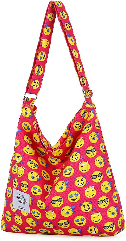 Covelin Womens Retro Large Size Canvas Shoulder Bag Hobo Crossbody Handbag Casual Tote