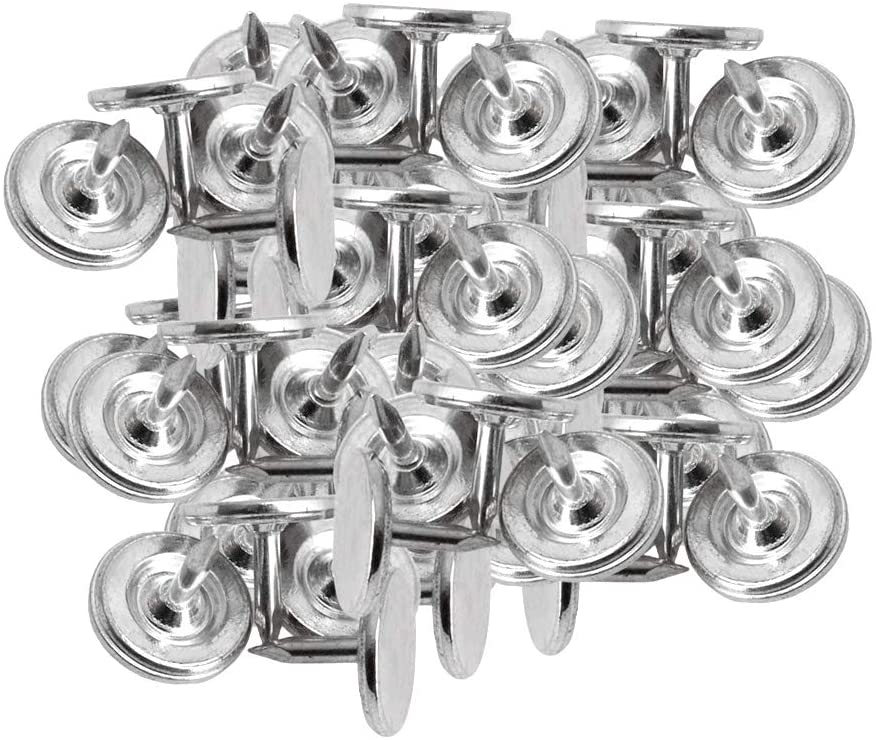 100pcs Furniture Nails Flat Head Nail Decorative Nail for Sofa Silver 9x8mm