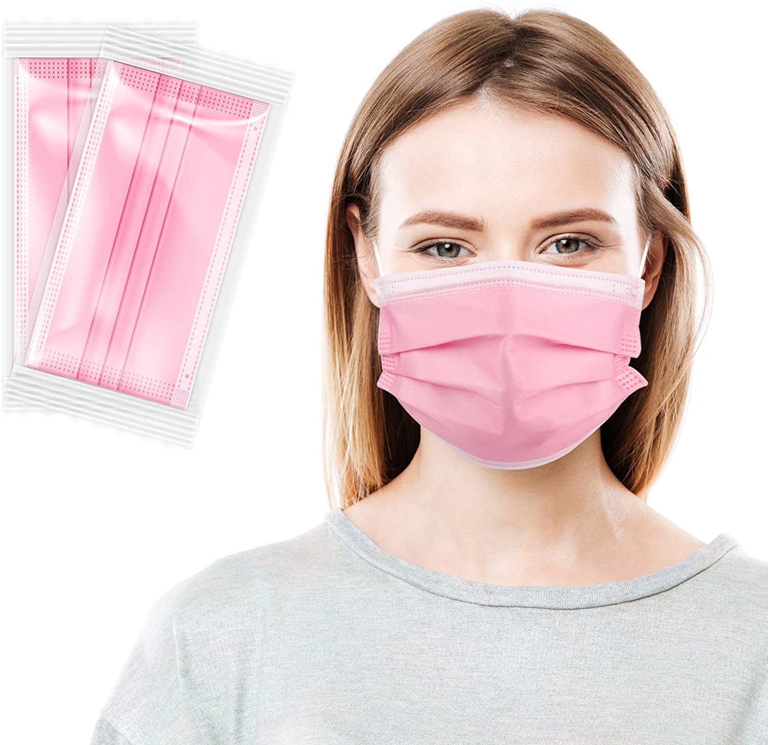 Disposable Face Mask Individually Wrapped Masks 3 Layers Breathable Face Cover with Soft Elastic Ear Loops for Men Women Indoor and Outdoor Activities, Blush Pink 20PCS