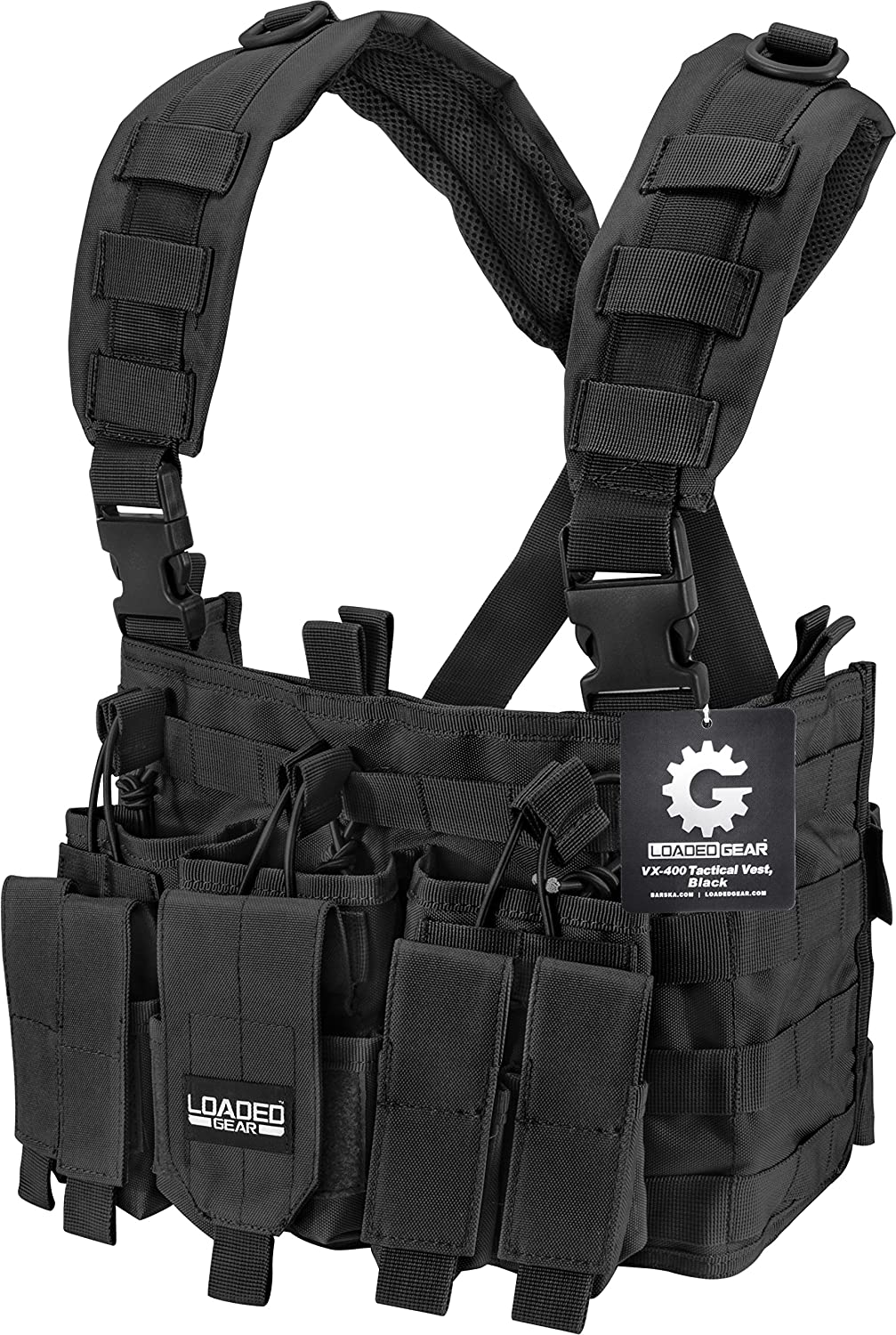 Loaded Gear Chest Rig Vest Law Enforcement Vest Breathable Combat Training Vest Adjustable Lightweight (Black)