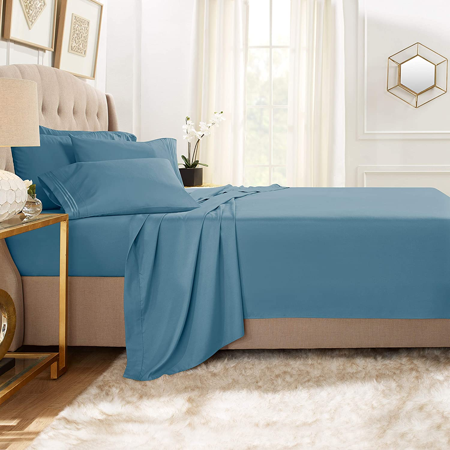 Clara Clark Premier 1800 Collection Bed Sheet Set with Extra Pillowcases Wrinkle, Fade & Stain Resistant, Twin XL, Blue Heaven
