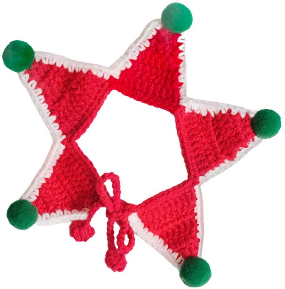 ABOOFAN Christmas Pet Knit Scarf Dog Dog Winter Neck Warmer Bandana Christmas Costume for Small Medium Large Dogs Cat Red