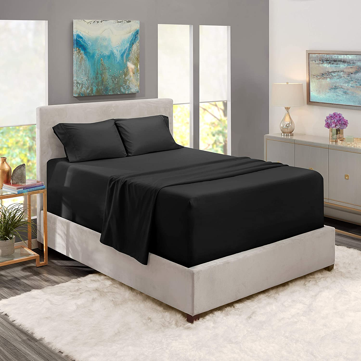 Queen Size Sheet Set - 4 Piece - 100% Cotton Hotel Luxury Bed Sheets - Extra Soft - 18