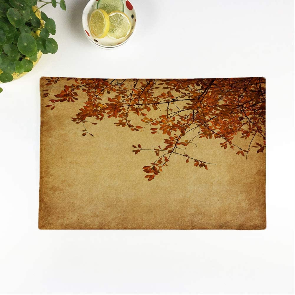 rouihot Set of 4 Placemats Brown Old Branch of Autumn Leaves Cherry Plum Orange Non-Slip Doily Place Mat for Dining Kitchen Table