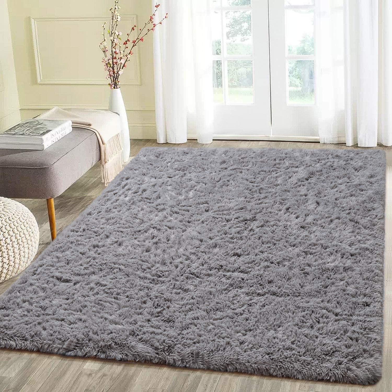 Beglad 3 ft x 5 ft Soft Fluffy Area Rug Modern Shaggy Bedroom Rugs for Kids Room Extra Comfy Nursery Rug Floor Carpets Boys Girls Fuzzy Shag Fur Home Decor Rug, Grey