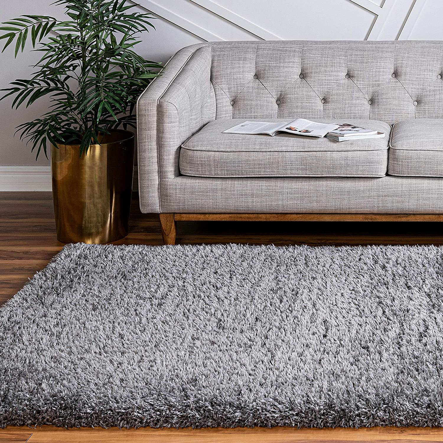 Infinity Collection Solid Shag Area Rug by Rugs.com – Smoke 8' x 11' High-Pile Plush Shag Rug Perfect for Living Rooms, Bedrooms, Dining Rooms and More
