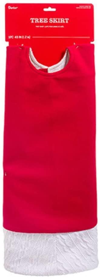 Darice Tree Skirt, Red, White, 48 inches