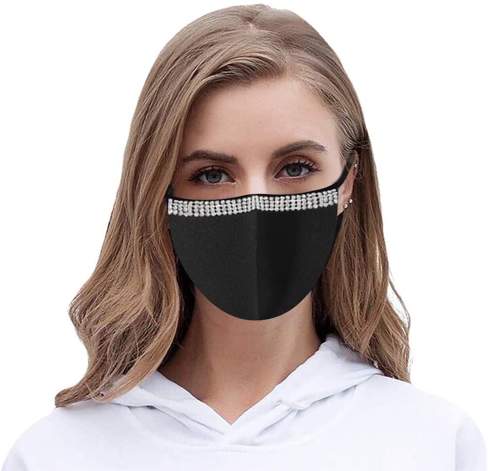 OMGYST Fashion Diamond Protect_Face_Mask_Cloth Decorative Party, Reusable Teacher Face Bandanas Washable Face Tube Masquerade Face Màsc