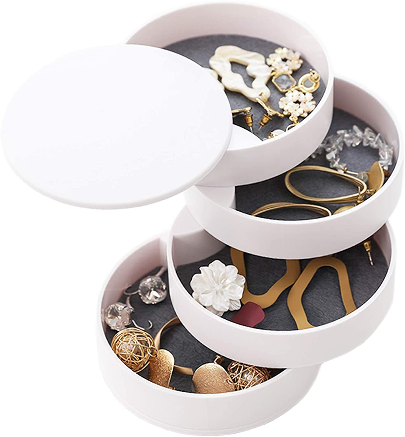 Haawooky White Jewelry Organizer Box 4-Layer 360°Rotating Showcase Storage Organizer Rings,Small Jewelry Storage Box with Lid for Earring Ring Bracelet Lipstick Fits on Dressers Office