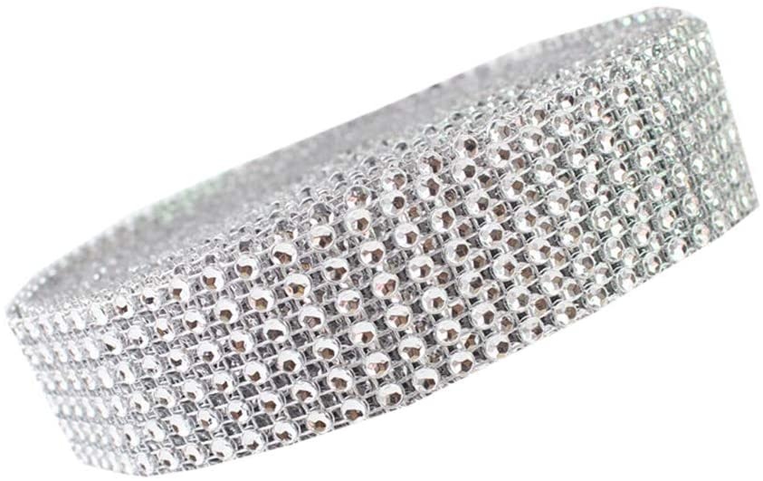 USIX 3/4/6/8/10/12 Rows Artificial Sparkling Glitter Rhinestone Diamond Mesh Ribbon Webbing Wrap for DIY Arts Craft Sewing Wedding Bouquet Cake Birthday Party Decor(Silver,6 Rows-3cm/1.18)