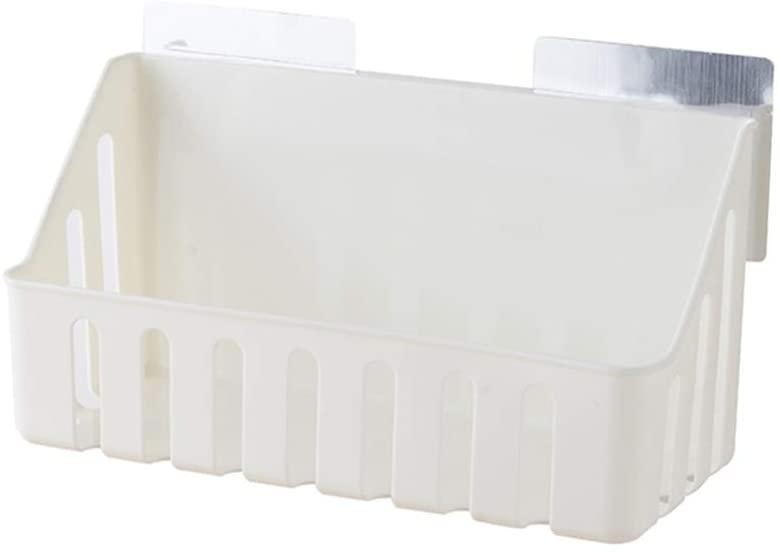 TOPBATHY Bathroom Shelf Multifunction Wall Mounted Plastic Shelf Punch Free Space Saver Storage Shelf Shampoo Soap Holder for Kitchen Bath Home White