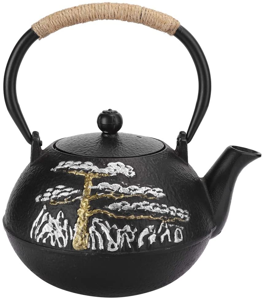 Cast Iron Tea Pot,0.6L Japanese Style Welcome Pine Uncoated Uncoated Cast Iron Tea Kettle With Stainless Steel Infuser For Coffee,Tea Bags,Loose Tea,For Home/Tea House/Restaurant