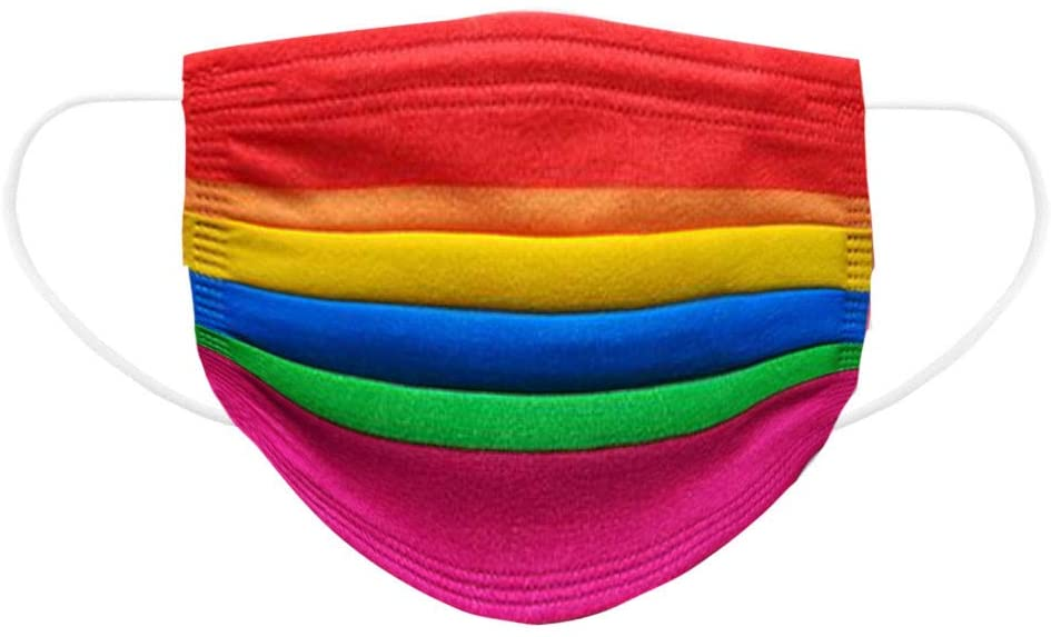 DSWQ Face Mouth Cover Mask, Rainbow Printed Pattern Comfortable Breathable Adjustable Disposable Non-woven 3-layers Face Protection Mask Scarf Bandana Child Kid Dustproof Windproof 60pcs