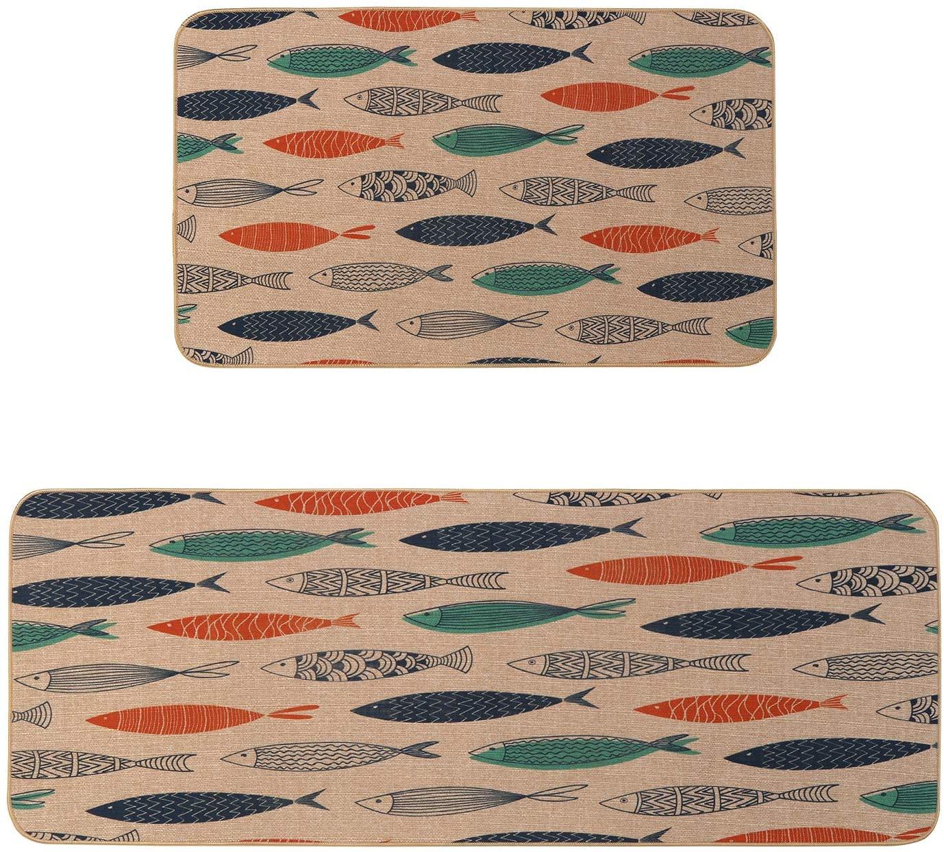 Kitchen Mat Set, KIMODE 2 Piece Microfiber Kitchen Rugs Cushioned Chef Soft Non-Slip Rubber Back Floor Mats Washable Doormat Bathroom Runner Area Rug Carpet (18