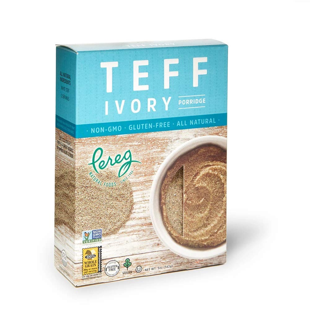 Teff Grain White/Ivory (5 oz) Box Packed - Ancient Porridge Whole Grain Healthy & Nutritional Food - Resealable Zip Lock - Gluten Free, Non-GMO, Kosher Certified