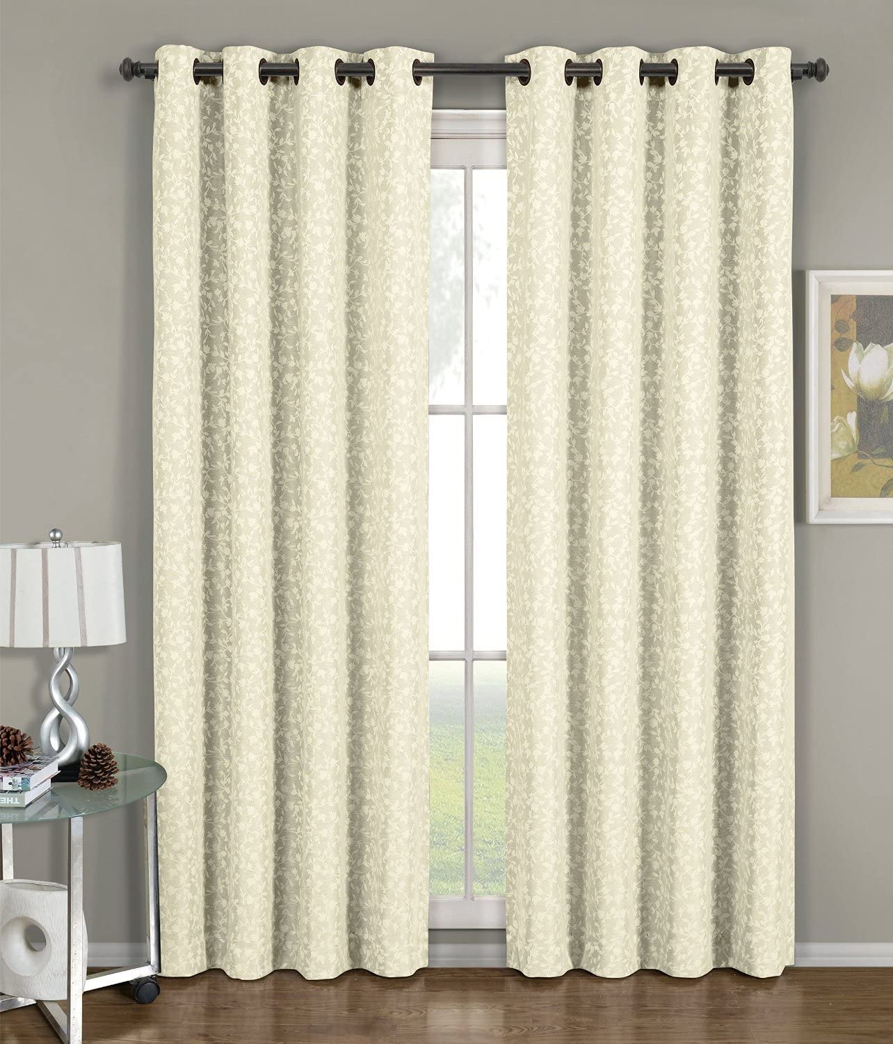 Royal Hotel Fiorela Beige Grommet Jacquard Window Curtain Panel, 1 Single Panel, 54x108 inches