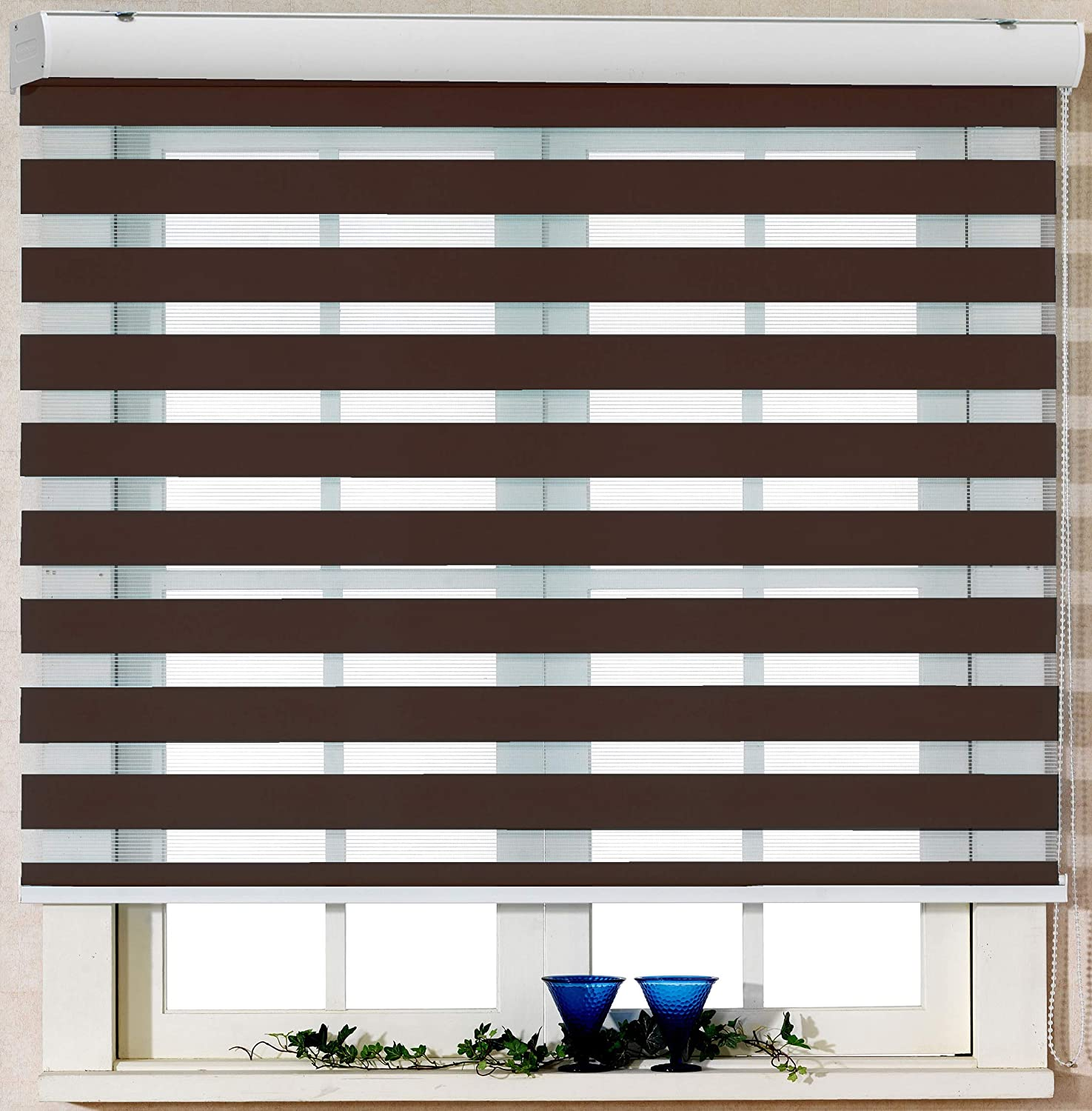 Foiresoft Custom Cut to Size, [Winsharp Basic, Mocha, W 47 x H 47 inch] Zebra Roller Blinds, Dual Layer Shades, Sheer or Privacy Light Control, Day and Night Window Drapes, 20 to 110 inch Wide