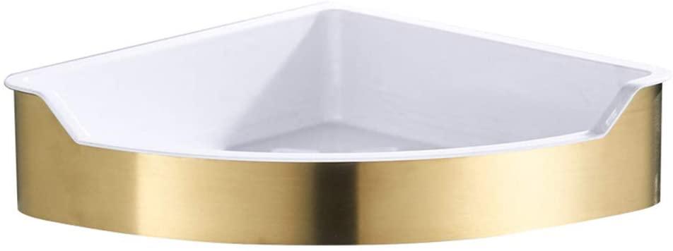 CWH&WEN Bathroom Corner Shelf 304 Stainless Steel Shower Caddy Gold Brushed Storage Basket for Shampoo Conditioner Organiser Wall Mounted Rustproof