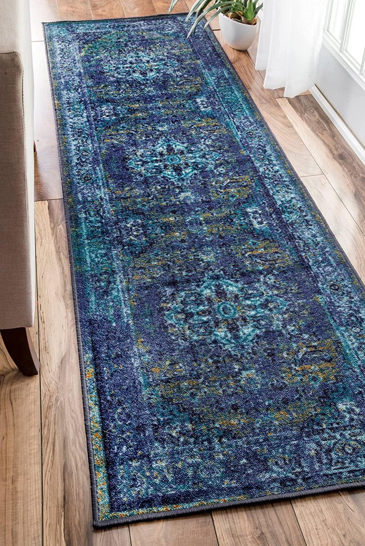 nuLOOM Reiko Vintage Persian Runner Rug, 2 6 x 8 6, Blue, 6 6