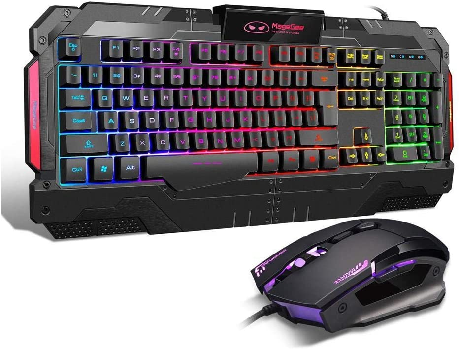 PC Gaming Keyboard and Mouse Combo, GK806 LED Rainbow Backlit USB Keyboard and Mouse Set