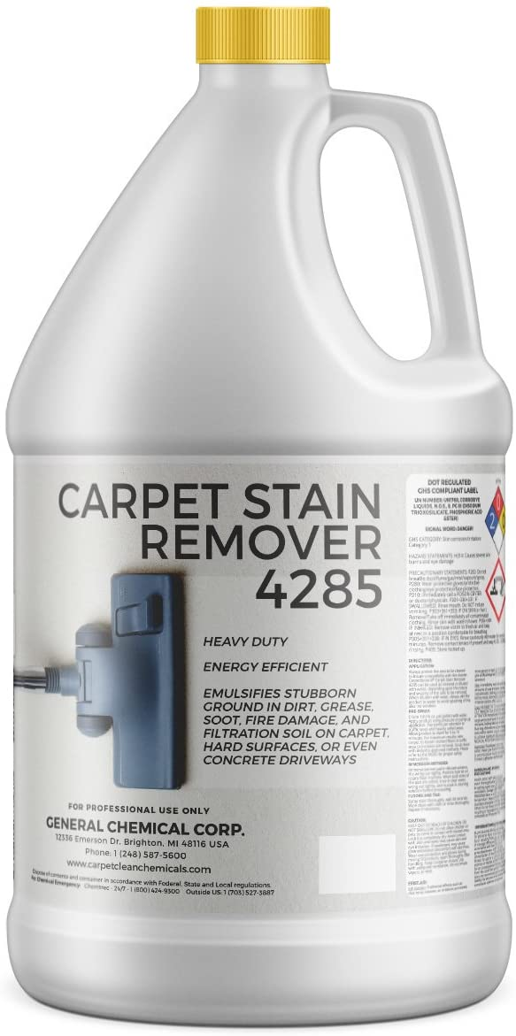CarpetGeneral - Carpet Stain Remover 4285 - All-Purpose and Multi-Surface Stain Remover - Residential Use - For Heavy-Duty Spot Cleaning - Professional Grade - 1 Gallon Jug