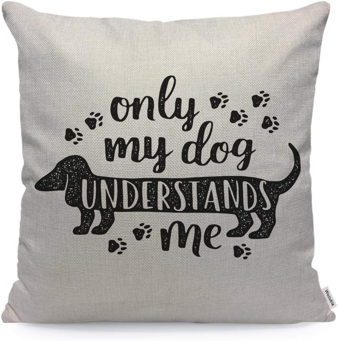 Wozukia Dog Throw Pillow Cover The Footprints Cartoon Lettering Saying Only My Dog Understands ME Vintage Designs Pillow Case 18x18 Inch Cotton Linen Square Cushion Decorative Cover for Sofa Bed