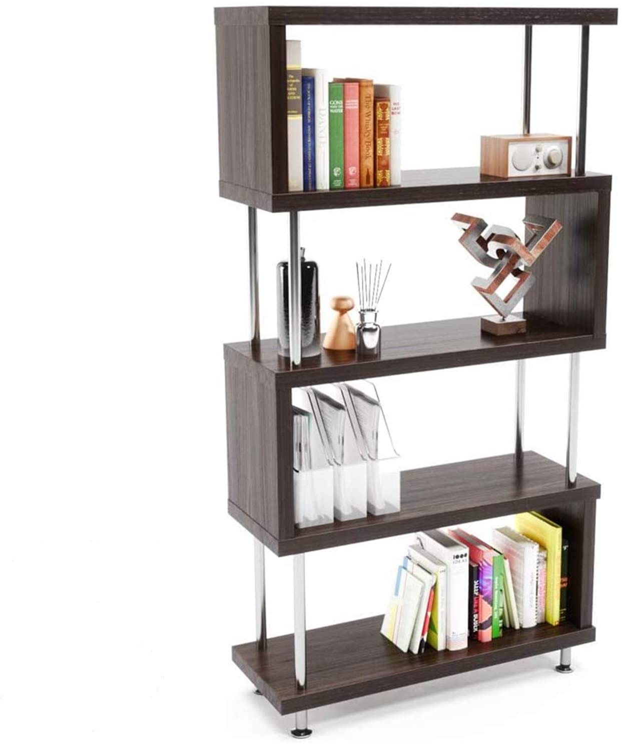 IHADA S-Shaped 5 Shelf Bookcase, Wooden Z Shaped 5-Tier Vintage Industrial Etagere Bookshelf Stand (Brown) Classic Rack Unit - Home, Office Storage