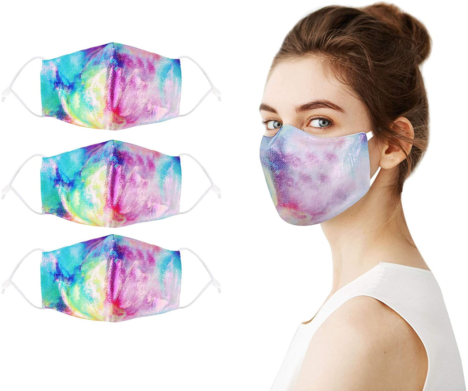 2 Ply Breathable Printed Cloth Face Madks Soft with Adjustable Ear Loops, Cute Mens Womens Fashion Face Madks Reusable Washable with Design, 3 Pack Rainbow