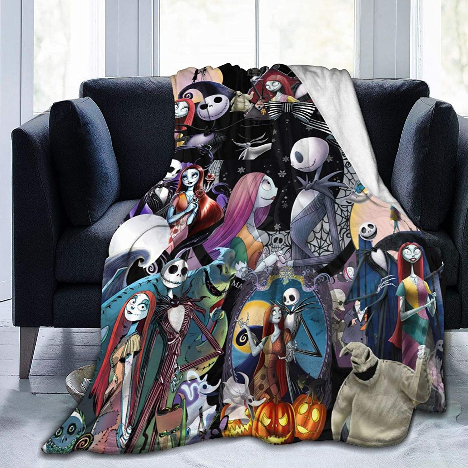 The Nightmare Before Christmas Jack And Sally Blanket Flannel Fleece Throw Blanket All Seasons Plush Fuzzy Lightweight Ultra Soft Plush Luxury Fluffy Microfiber Blanket For Bed/Sofa/Chair 40X50inch