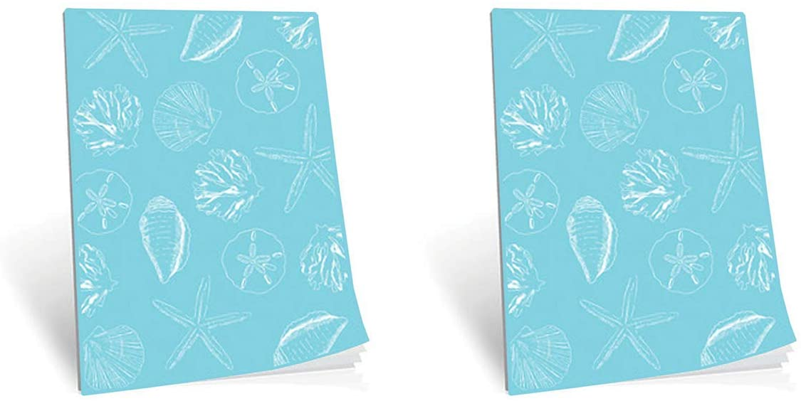 2 Pack Softcover Notebook, Shell Pattern Coastal Holiday Design, 100 Pages, Size 5