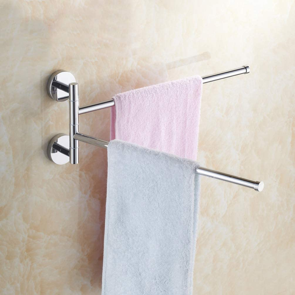 UKURO Wall Mount Swing Out Towel Bars 2-Bar Folding Arm Swivel Towel Rack Hanger Stainless Steel/Copper Holder Organizer Shelf