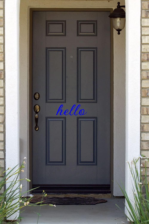 JS Artworks Hello Home Front Door Vinyl Decal Sticker (Blue)