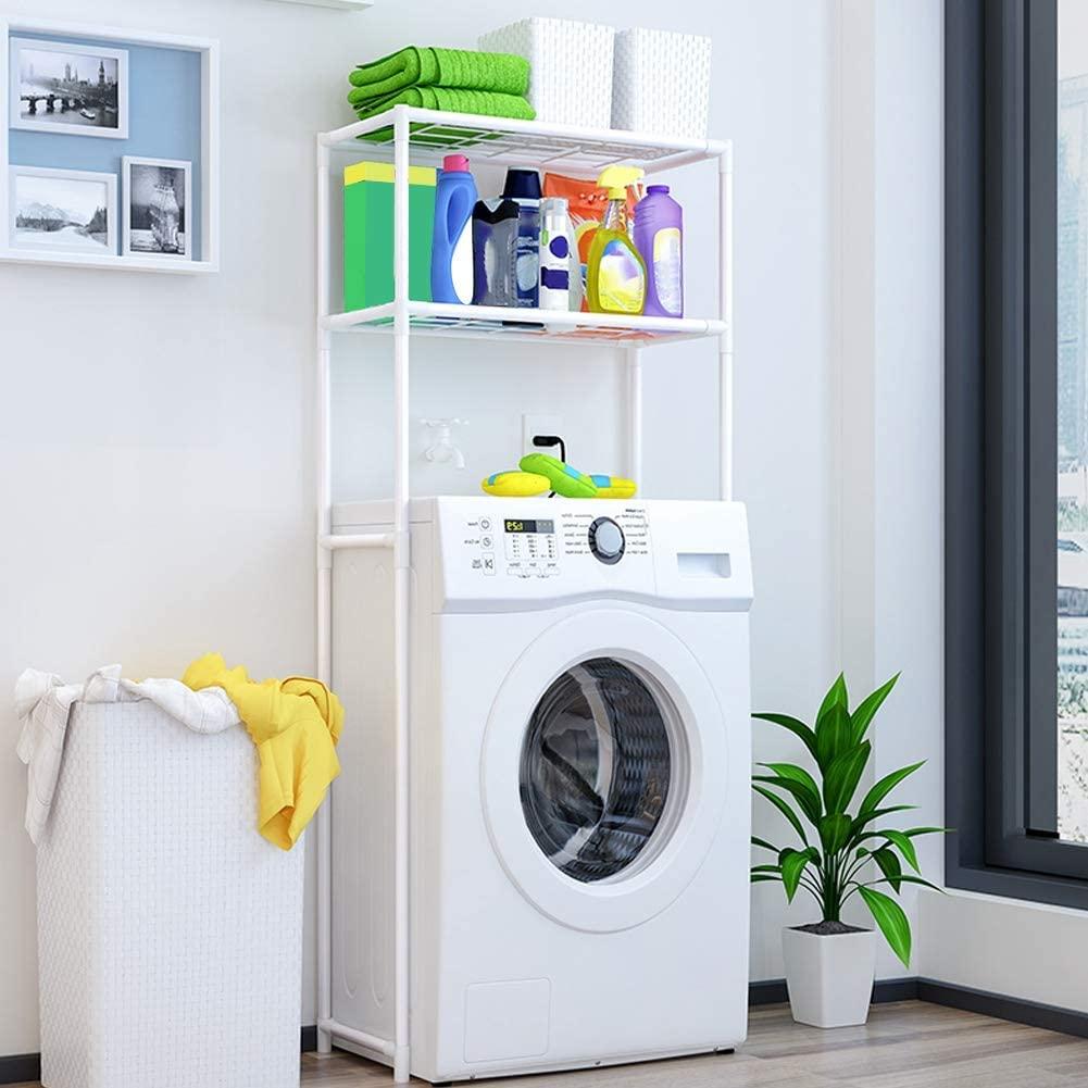 Ejoyous Bathroom Over Wash Machine Over Toilet Shelf Organiser Unit, 2 Tier Free Floor Standing Bathroom Shelf Rack Organiser, 68x27.8x134cm Large Size Over Washer Bath Stuff Shampoo Towel Organiser