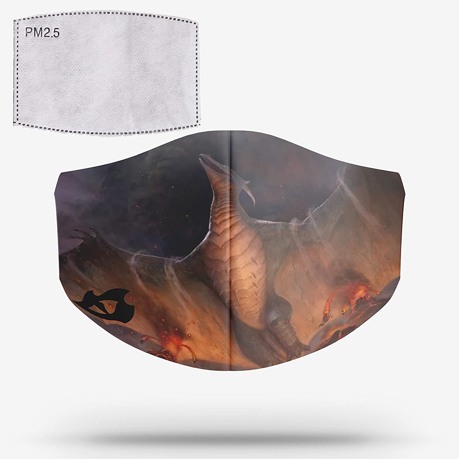 COOLINKO Magic Designer Face Covering with Activated Carbon PM2.5 Filter - Washable Reusable Fashion Cotton Mouth Head Accessory Mask Inspired Mythic Creature Graphics (#34)
