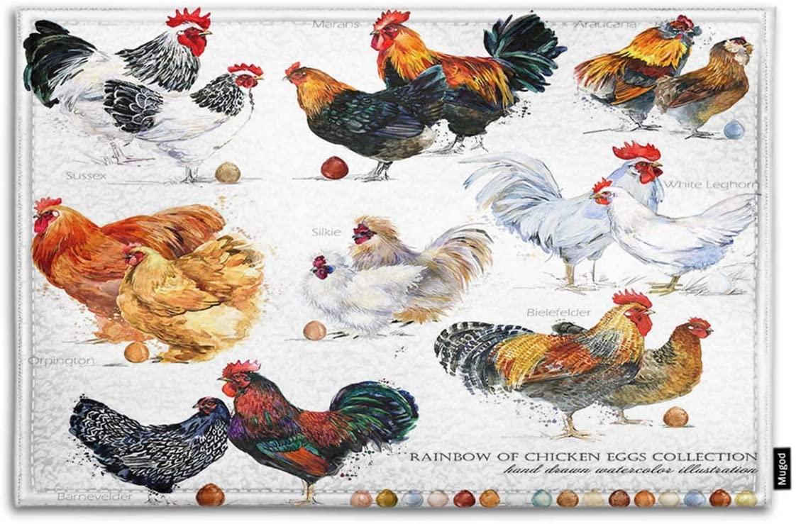 Mugod Chicken Breed Collection Indoor/Outdoor Doormat Hand Drawn Watercolor Farm Hen Rooster Funny Doormats Bathroom Kitchen Decor Area Rug Non Slip Entrance Door Floor Mats, 18