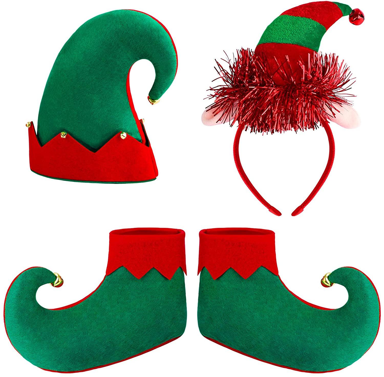 Aneco 4 Pieces Kids Christmas Elf Costume Sets Xmas Holiday Elf Felt Hat Elf Shoes Christmas Costume Headband for Boys or Girls Christmas Costume